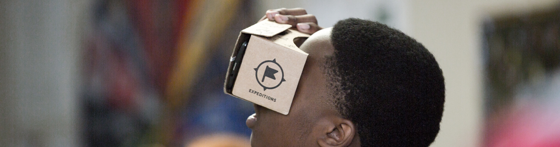 PUHSD student using Google Cardboard