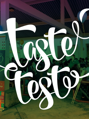 Image with text saying, taste test