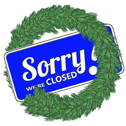 Closed sign surround by holiday wreath